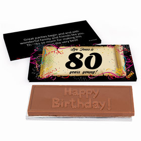 Deluxe Personalized Birthday 80th Confetti Birthday Chocolate Bar in Gift Box