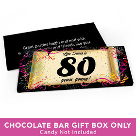 Deluxe Personalized Birthday 80th Confetti Birthday Candy Bar Favor Box