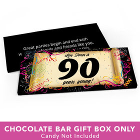 Deluxe Personalized Birthday 90th Confetti Birthday Candy Bar Favor Box
