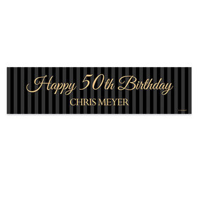 Personalized Birthday 50th Regal Pinstripe Banner