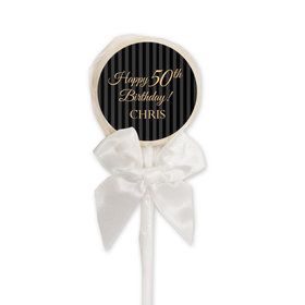 Birthday Personalized Lollipop Elegant Formal Pinstripes (24 Pack)
