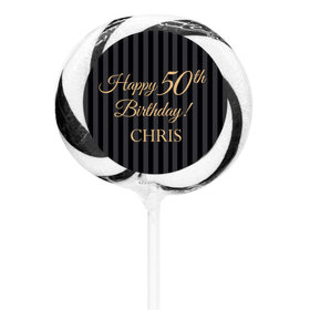 """Birthday Personalized 3"""" Whirly Pop Elegant Formal Pinstripes (24 Pack)"""