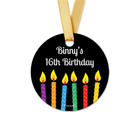 Personalized Round Stork Birthday Favor Gift Tags (20 Pack)