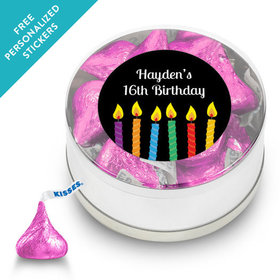 Birthday Personalized Small Silver Plastic Tin Lit Candles (25 Pack)