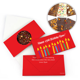 Personalized Birthday Lit Candles Gourmet Infused Belgian Chocolate Bars (3.5oz)