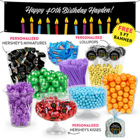 Personalized Birthday Lit Candles Deluxe Candy Buffet