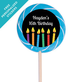 """Birthday Personalized 3"""" Swirly Pop Lit Candles (12 Pack)"""