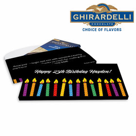 Deluxe Personalized Birthday Candles Ghirardelli Chocolate Bar in Gift Box