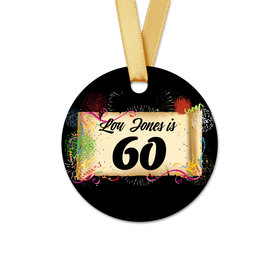 Personalized Round Birthday 60th Confetti Favor Gift Tags (20 Pack)
