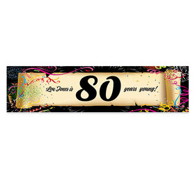 Personalized Birthday Confetti 80th 5 Ft. Banner