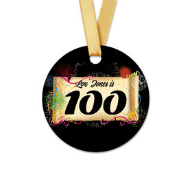 Personalized Round Thank You 100th Confetti Favor Gift Tags (20 Pack)