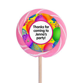 """Balloon Bash Personalized 3"""" Lollipops (12 Pack)"""