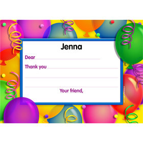 Balloon Bash Personalized Thank You Note