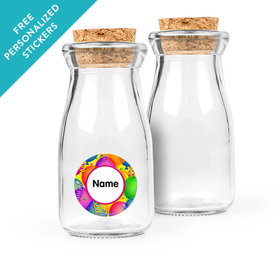 Balloon Bash Personalized Glass Bottle with Cork (24 pack)