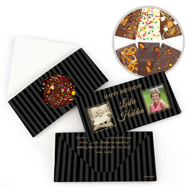 Personalized Birthday Then & Now Pinstripes Gourmet Infused Belgian Chocolate Bars (3.5oz)