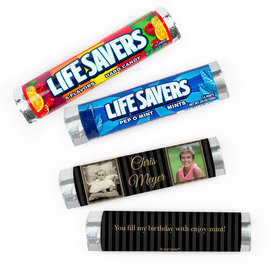 Personalized Birthday Pinstripe Photo Lifesavers Rolls (20 Rolls)