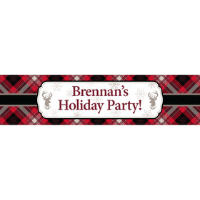 Personalized Buffalo Plaid Party 5 Ft. Banner