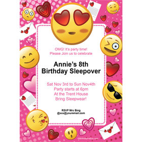 Emojis PinkPersonalized Invitation