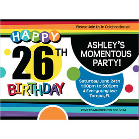 Rainbow Birthday Milestone Personalized Invitation