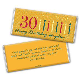 Personalized Milestone Birthday Vintage Thirty Chocolate Bar Wrappers Only