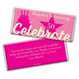 Personalized Milestone Birthday Let's Celebrate Chocolate Bar & Wrapper