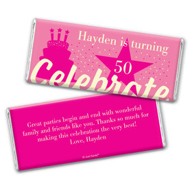 Personalized Milestone Birthday Let's Celebrate Chocolate Bar Wrappers Only