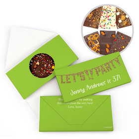 Personalized Birthday Let's Party Gourmet Infused Belgian Chocolate Bars (3.5oz)