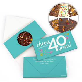 Personalized Birthday Milestone Forty Confetti Gourmet Infused Belgian Chocolate Bars (3.5oz)