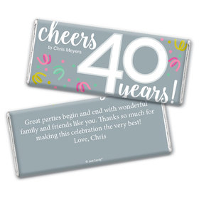 Personalized Milestone Birthday Forty Confetti Chocolate Bar Wrappers Only