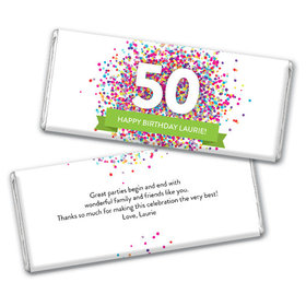 Personalize Any Age Milestone Birthday Confetti Burst Chocolate Bar & Wrapper