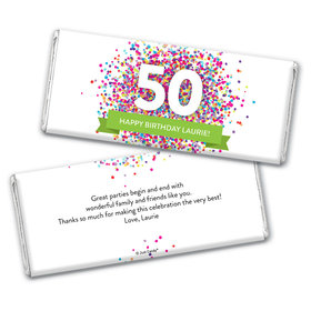 Personalized Milestone Birthday Confetti Burst Chocolate Bar Wrappers Only