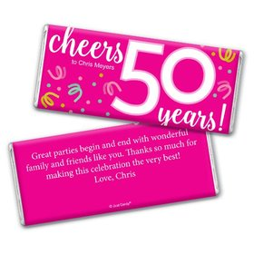 Personalized Milestone Birthday Fifty Confetti Chocolate Bar & Wrapper