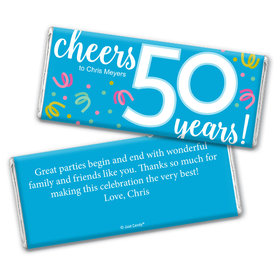 Personalized Milestone Birthday Fifty Confetti Chocolate Bar Wrappers Only