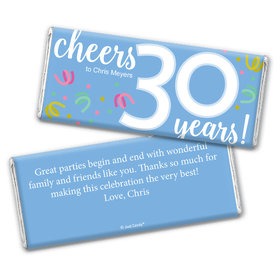 Personalized Milestone Birthday Thirty Confetti Chocolate Bar & Wrapper