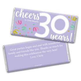 Personalized Milestone Birthday Thirty Confetti Chocolate Bar Wrappers Only