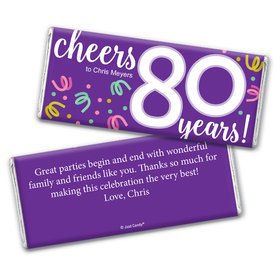 Personalized Milestone Birthday Eighty Confetti Chocolate Bar & Wrapper