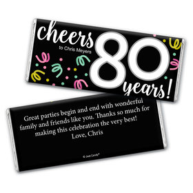 Personalized Milestone Birthday Eighty Confetti Chocolate Bar Wrappers Only