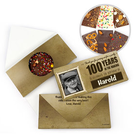 Personalized Milestone Birthday 100th Years to Perfection Gourmet Infused Belgian Chocolate Bars (3.5oz)