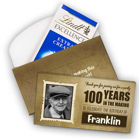 Deluxe Personalized Milestone 100th Birthday Years in the Making Lindt Chocolate Bar in Gift Box (3.5oz)