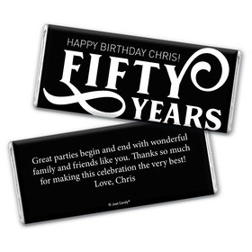 Personalized Milestone Birthday Fifty Chocolate Bar Wrappers Only