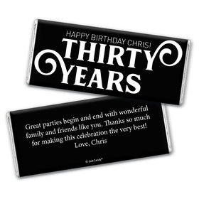 Personalized Milestone Birthday Thirty Chocolate Bar Wrappers Only
