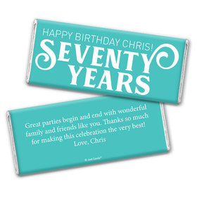 Personalized Milestone Birthday Seventy Chocolate Bar Wrappers Only