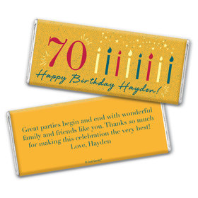 Personalized Milestone Birthday Vintage Seventy Chocolate Bar Wrappers Only