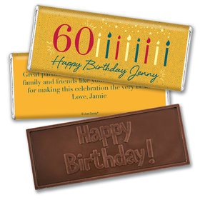 Personalized Milestone Vintage 60th Birthday Embossed Chocolate Bar & Wrapper