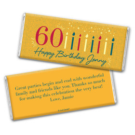 Personalized Milestone Vintage 60th Birthday Chocolate Bar Wrappers Only