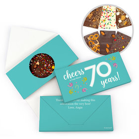 Personalized Birthday Milestone Seventy Confetti Gourmet Infused Belgian Chocolate Bars (3.5oz)