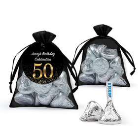 Personalized Elegant 50th Birthday Bash Hersheys Kisses In Organza Bags With Gift Tag