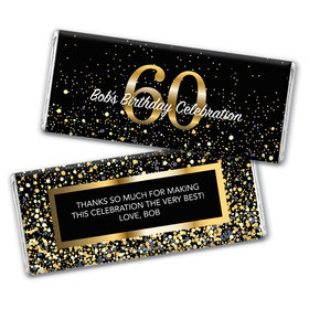 Personalized Milestone Elegant Birthday Bash 60 Chocolate Bar Wrappers