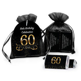 Personalized Elegant 60th Birthday Bash Hersheys Miniatures In Organza Bags With Gift Tag