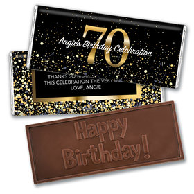 Personalized Milestone Elegant Birthday Bash 70 Embossed Chocolate Bar & Wrapper